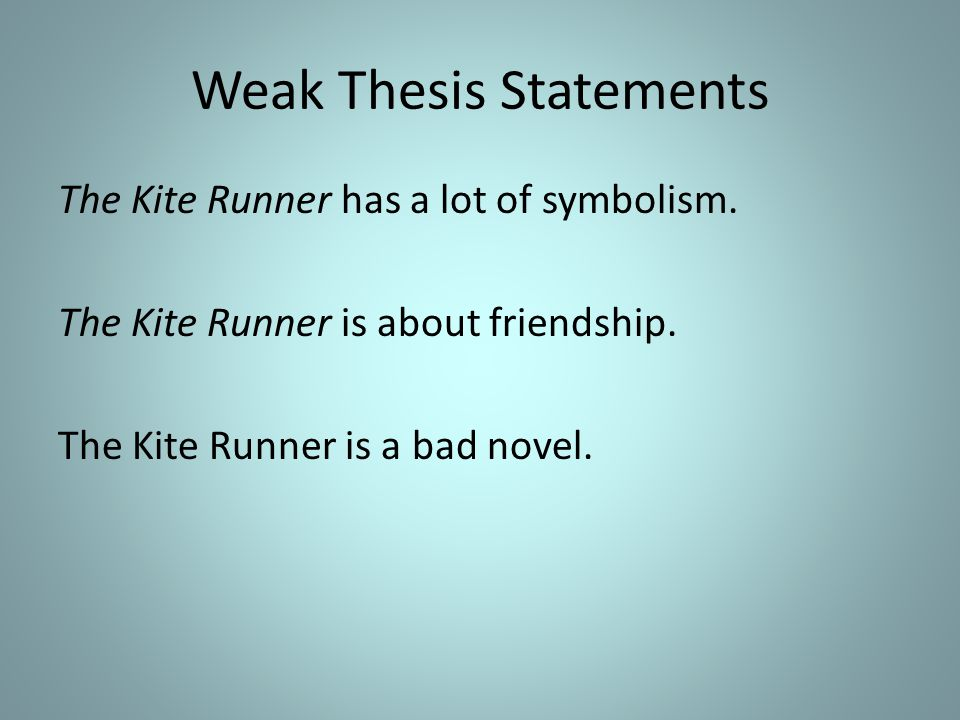 Thesis Statement For The Kite Runner