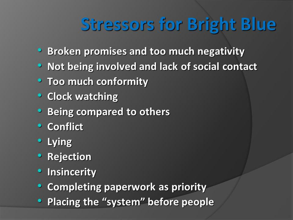 Stressors for Bright Blue