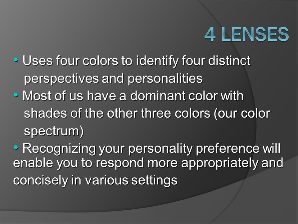 4 Lenses Uses four colors to identify four distinct