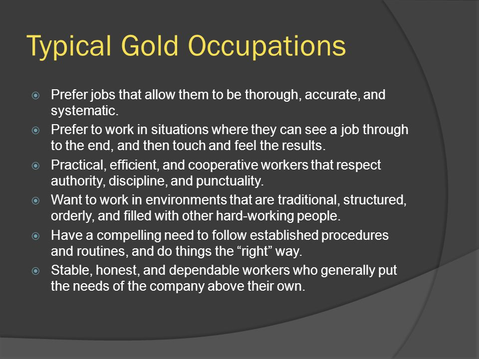 Typical Gold Occupations