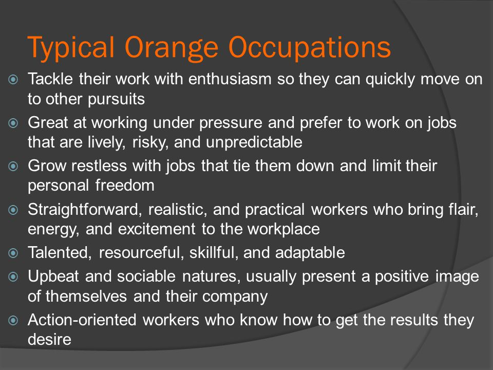 Typical Orange Occupations