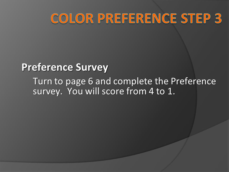 Color preference Step 3 Preference Survey