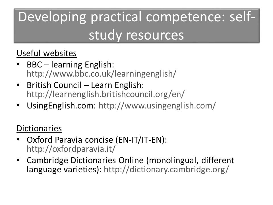 Developing practical competence: self-study resources