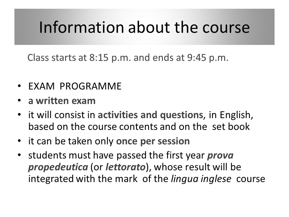 Information about the course