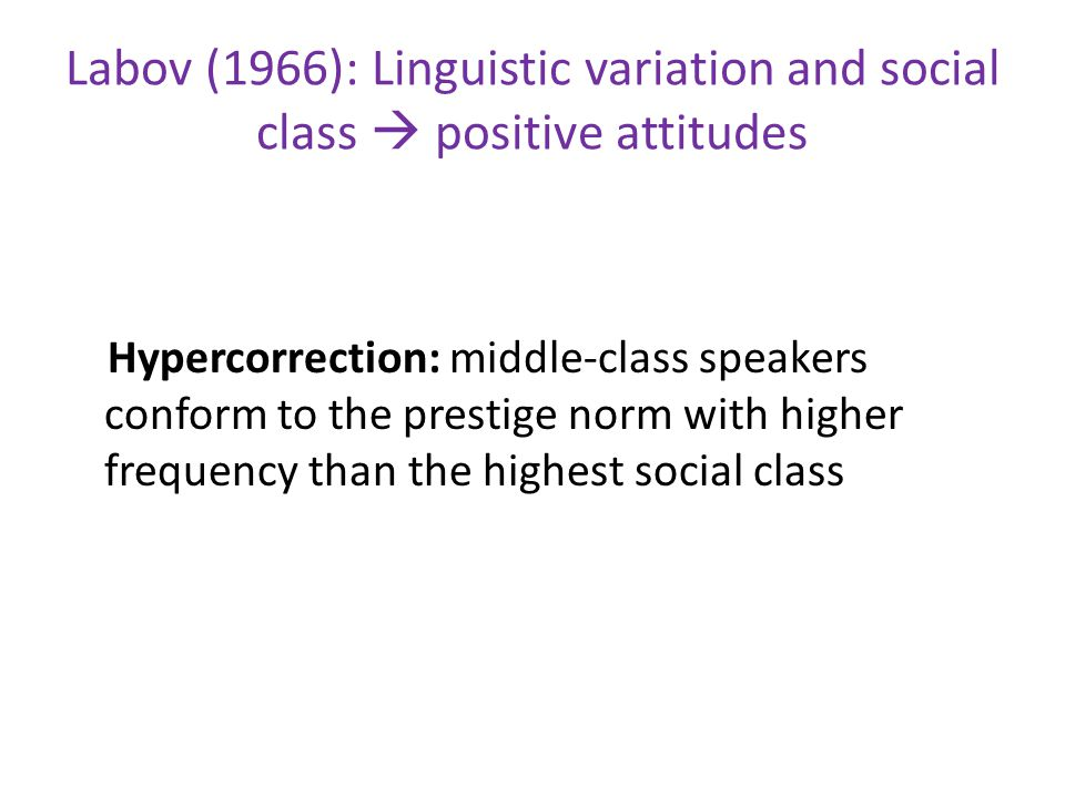 Labov (1966): Linguistic variation and social class  positive attitudes