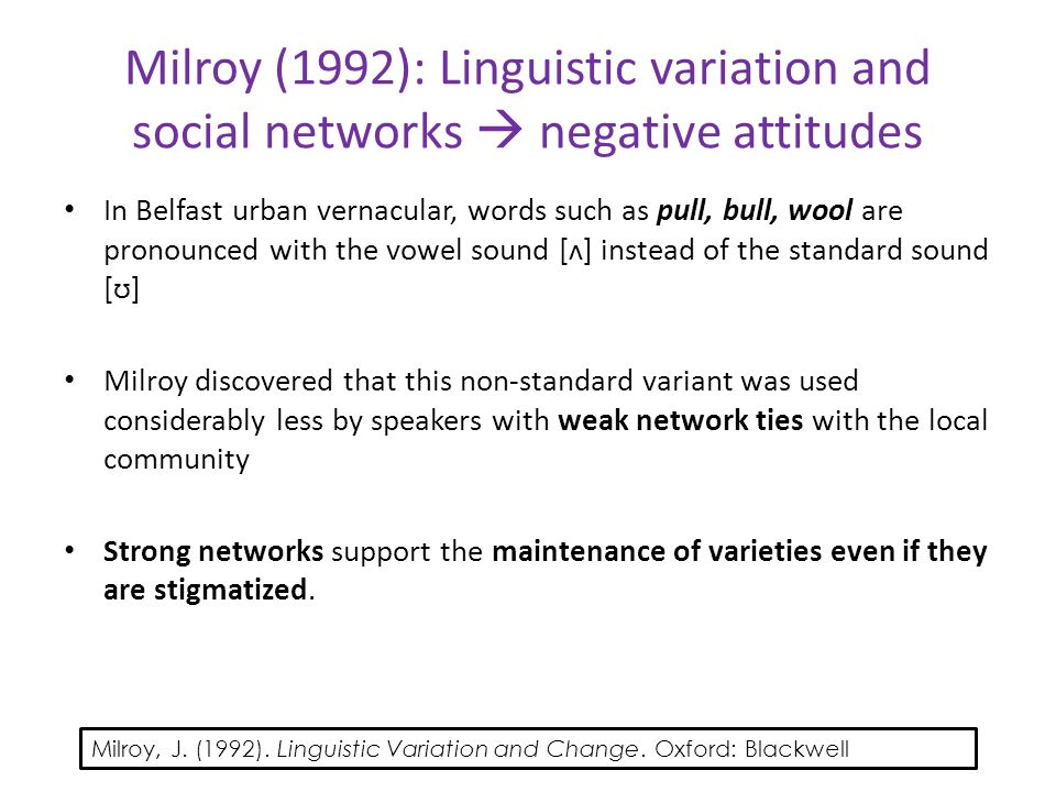 Milroy (1992): Linguistic variation and social networks  negative attitudes