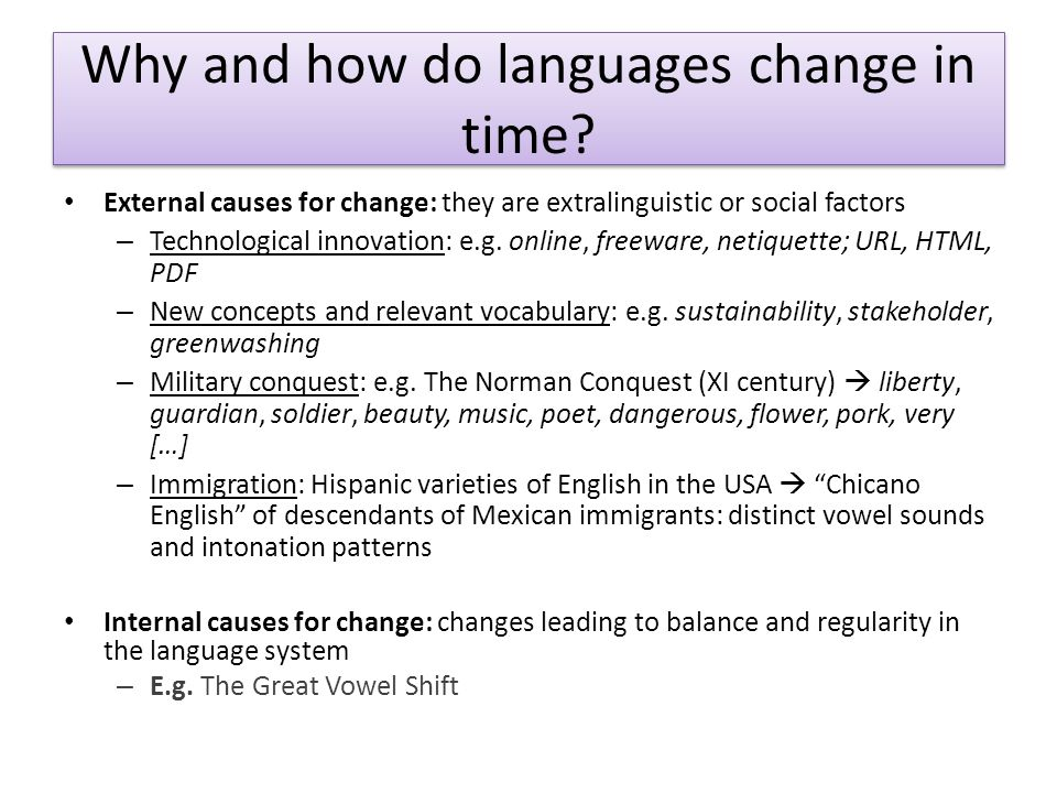Why and how do languages change in time