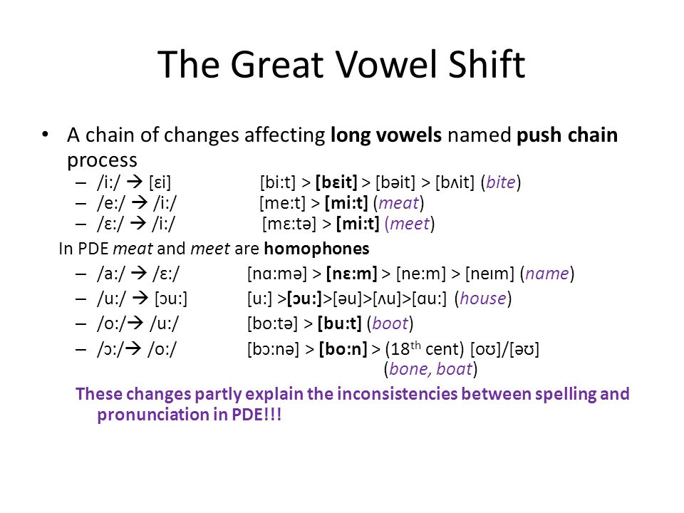The Great Vowel Shift A chain of changes affecting long vowels named push chain process.