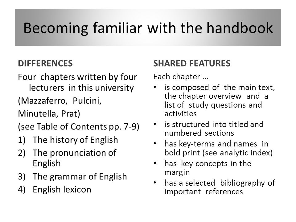 Becoming familiar with the handbook