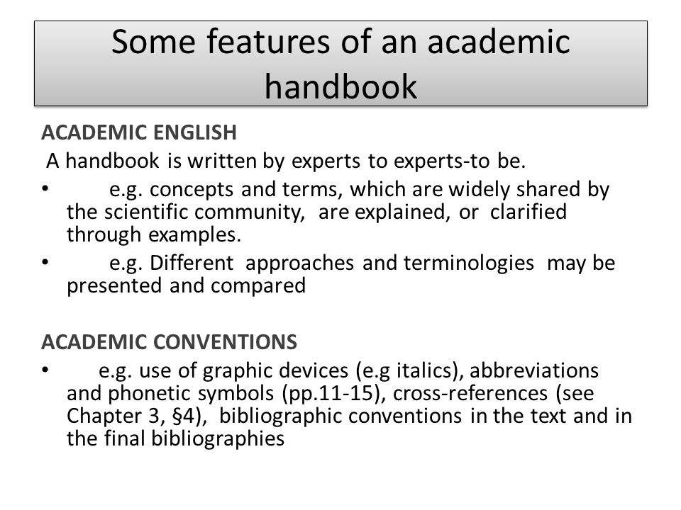 Some features of an academic handbook