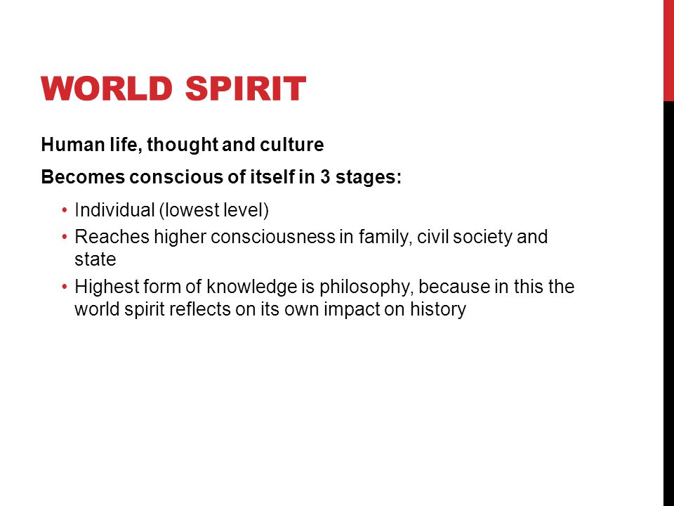 World Spirit Human life, thought and culture