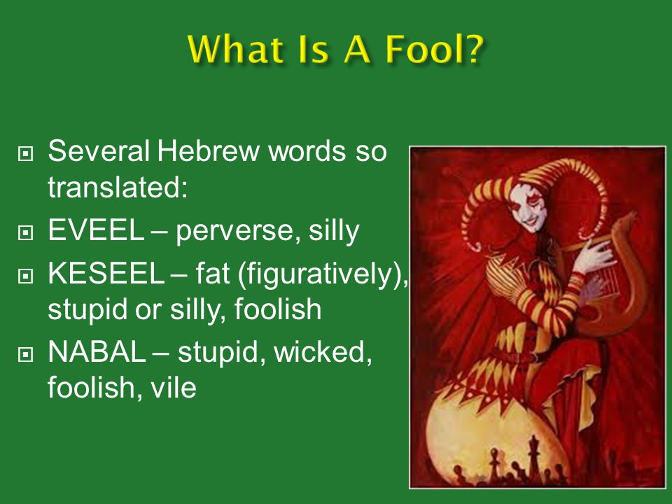 What Is A Fool Several Hebrew words so translated:
