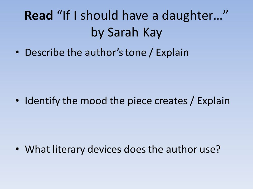 Read If I should have a daughter… by Sarah Kay