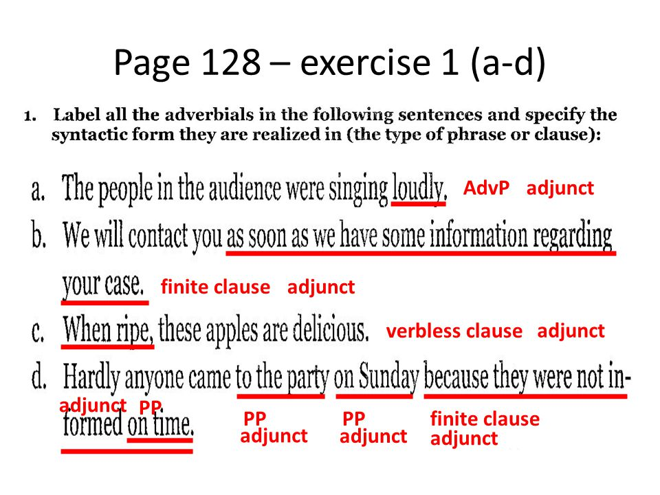 Page 128 – exercise 1 (a-d) AdvP adjunct finite clause adjunct