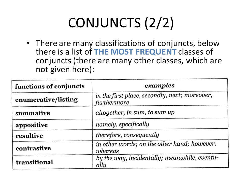 CONJUNCTS (2/2)