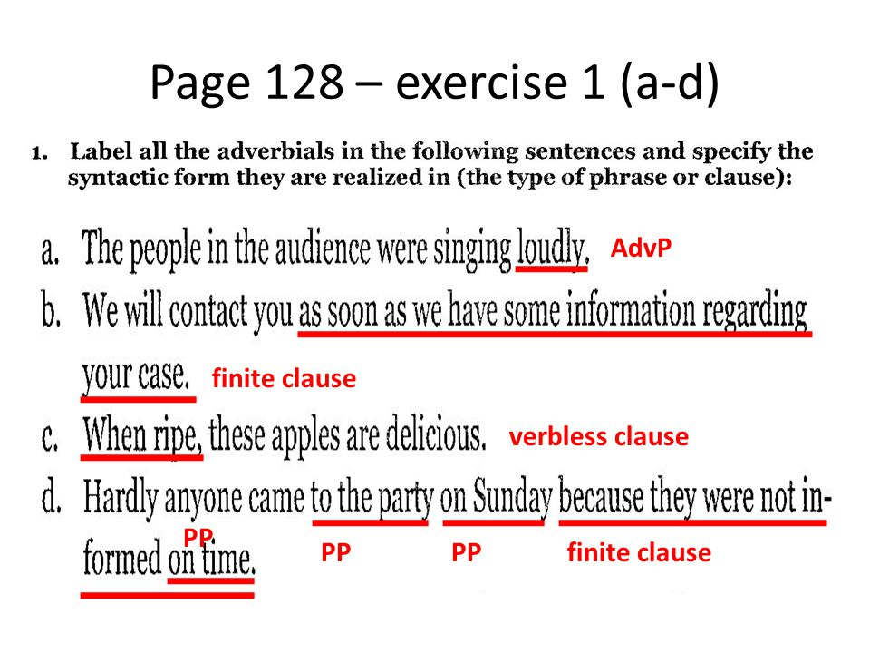 Page 128 – exercise 1 (a-d) AdvP finite clause verbless clause PP PP