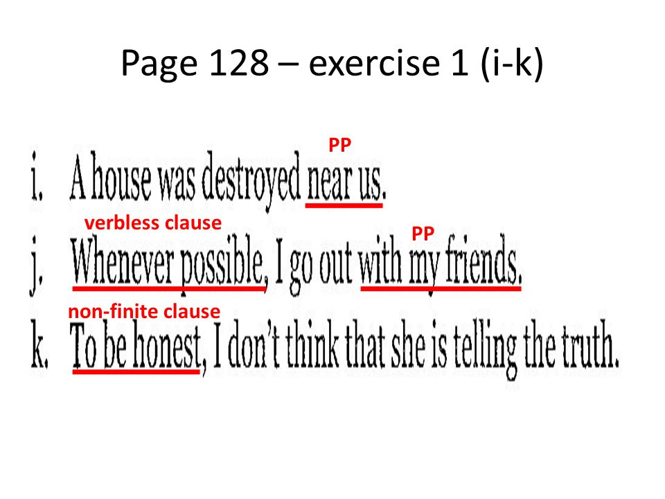 Page 128 – exercise 1 (i-k) PP verbless clause PP non-finite clause