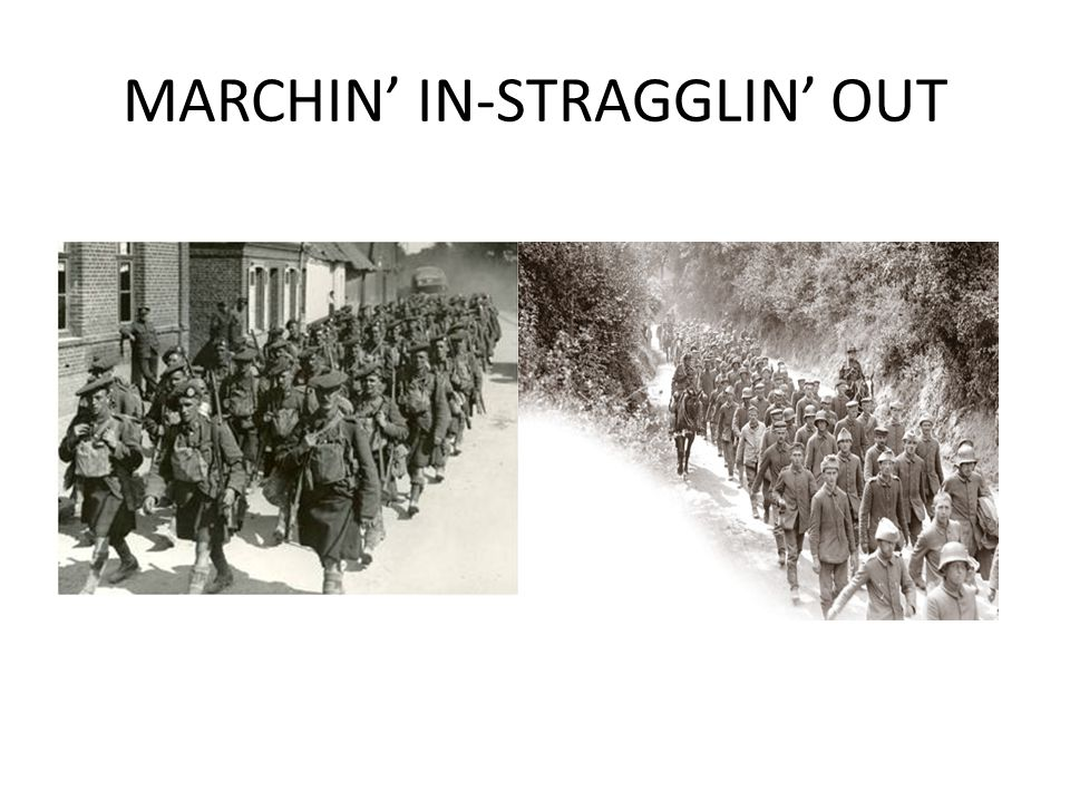 MARCHIN' IN-STRAGGLIN' OUT