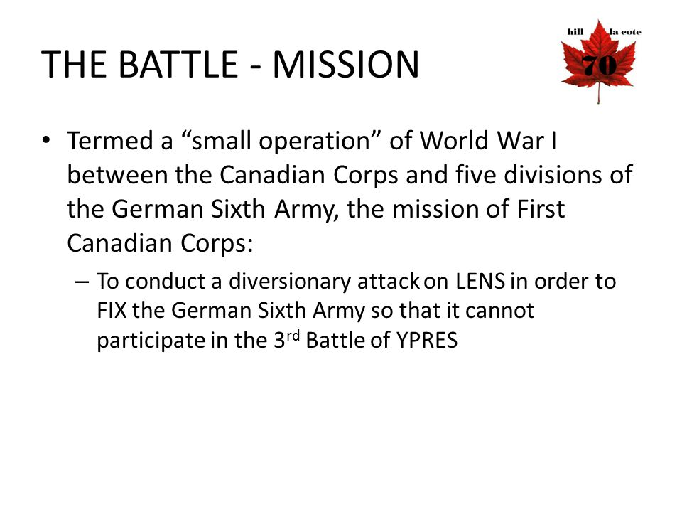 THE BATTLE - MISSION