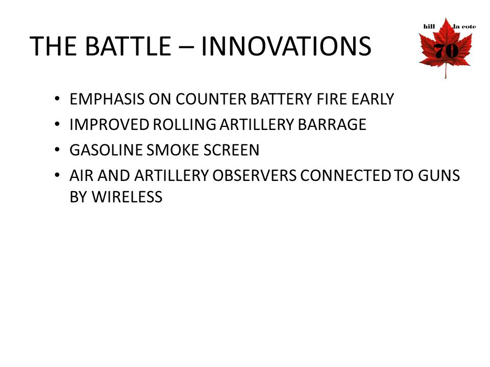 THE BATTLE – INNOVATIONS