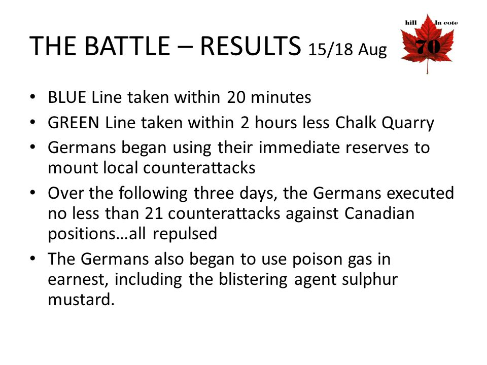 THE BATTLE – RESULTS 15/18 Aug