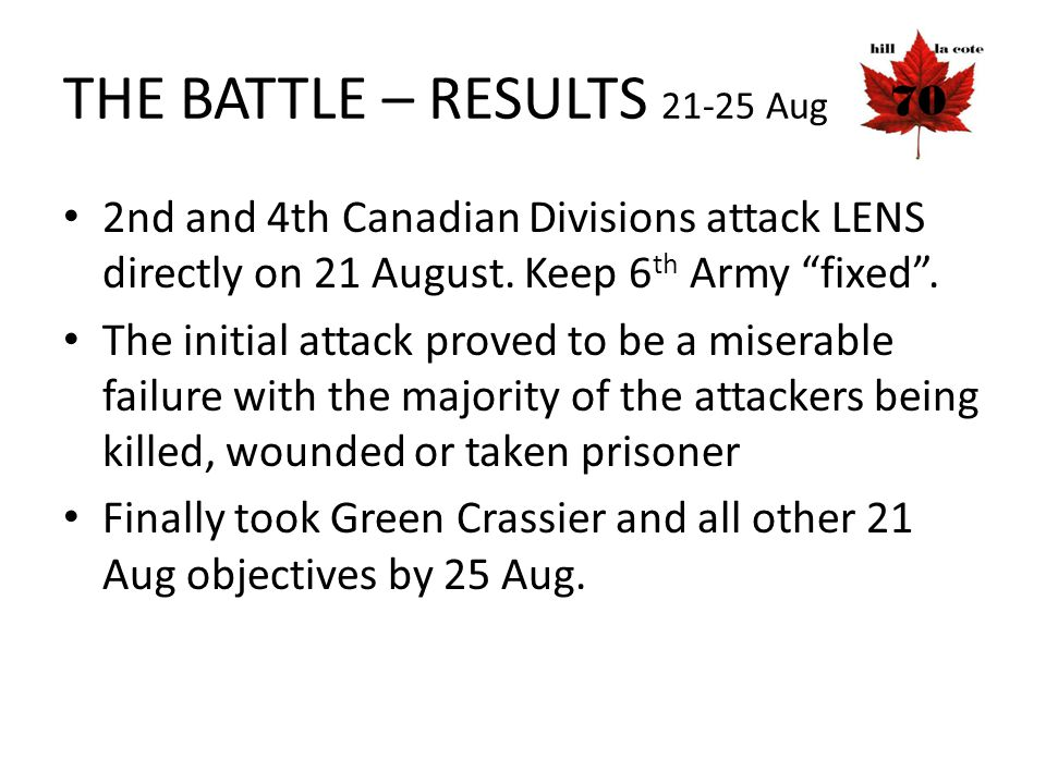 THE BATTLE – RESULTS 21-25 Aug