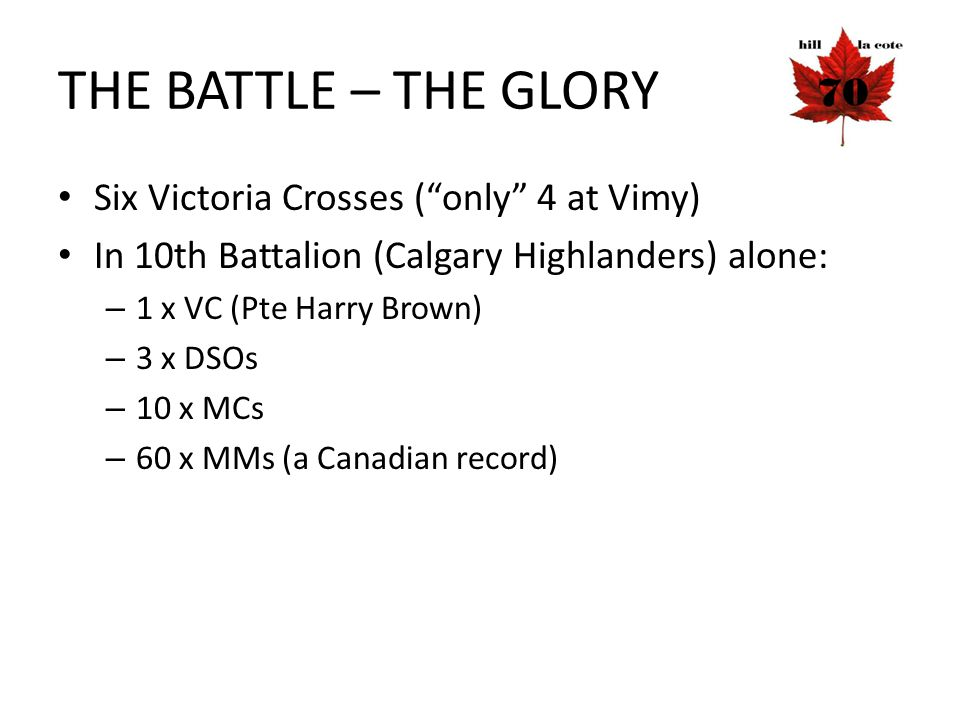 THE BATTLE – THE GLORY Six Victoria Crosses ( only 4 at Vimy)