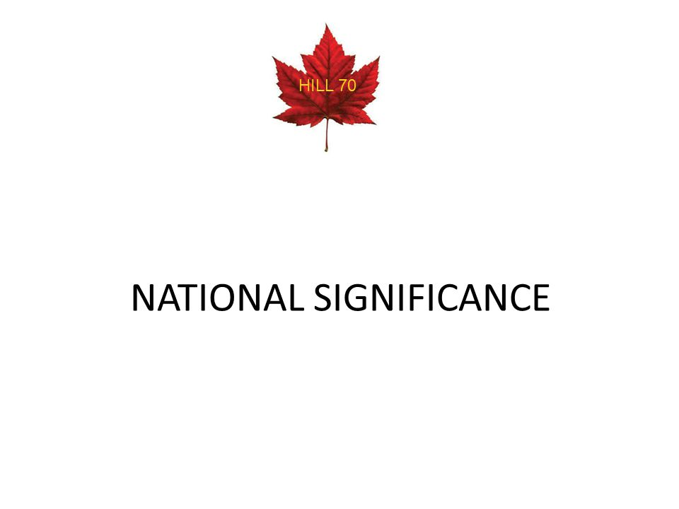 NATIONAL SIGNIFICANCE