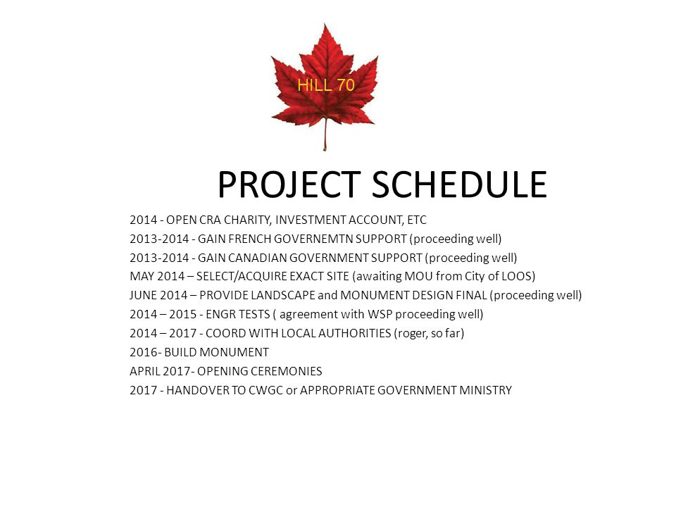 HILL 70 PROJECT SCHEDULE. 2014 - OPEN CRA CHARITY, INVESTMENT ACCOUNT, ETC. 2013-2014 - GAIN FRENCH GOVERNEMTN SUPPORT (proceeding well)