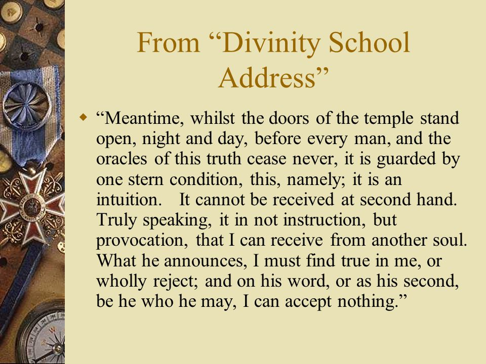 From Divinity School Address