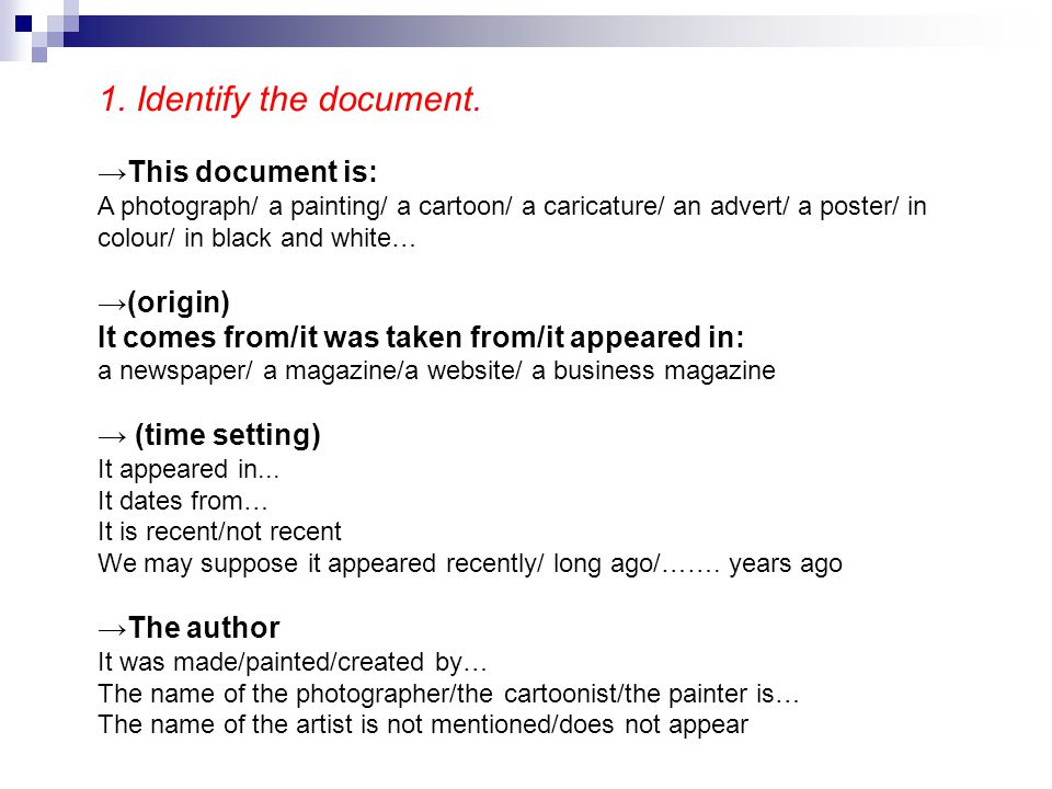 1. Identify the document. →This document is: →(origin)