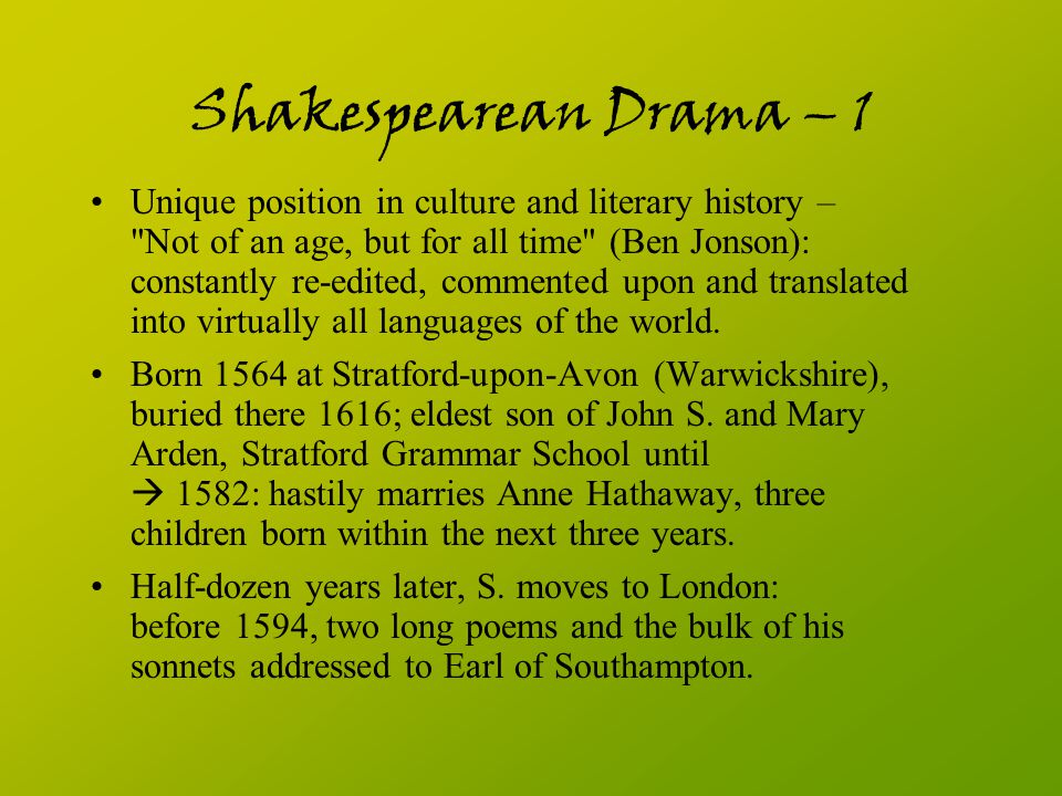 Shakespearean Drama – 1