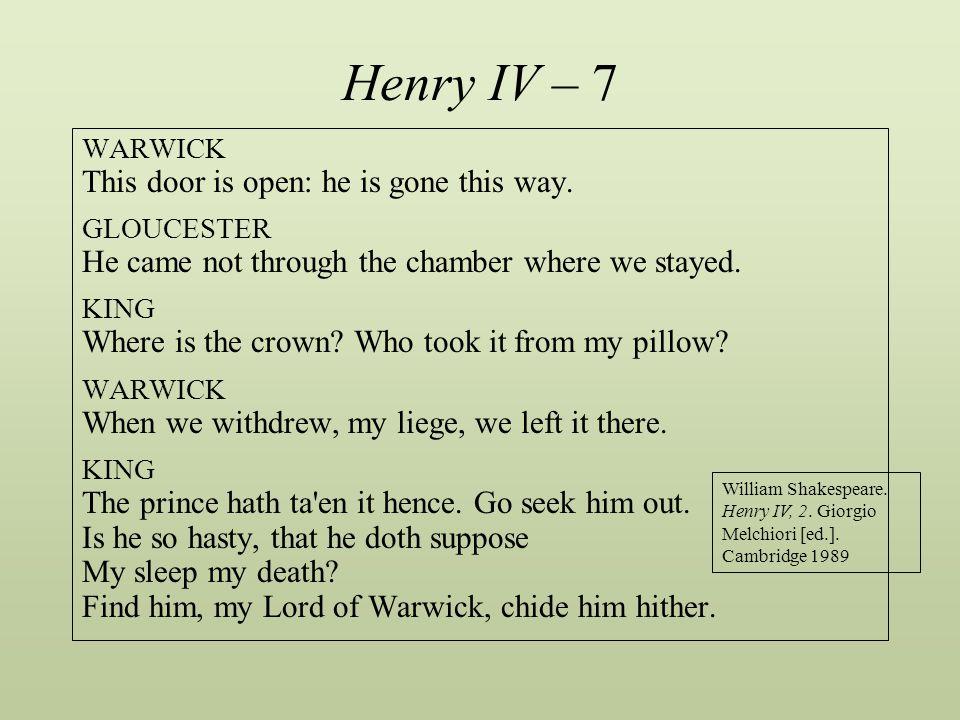 Henry IV – 7 This door is open: he is gone this way.