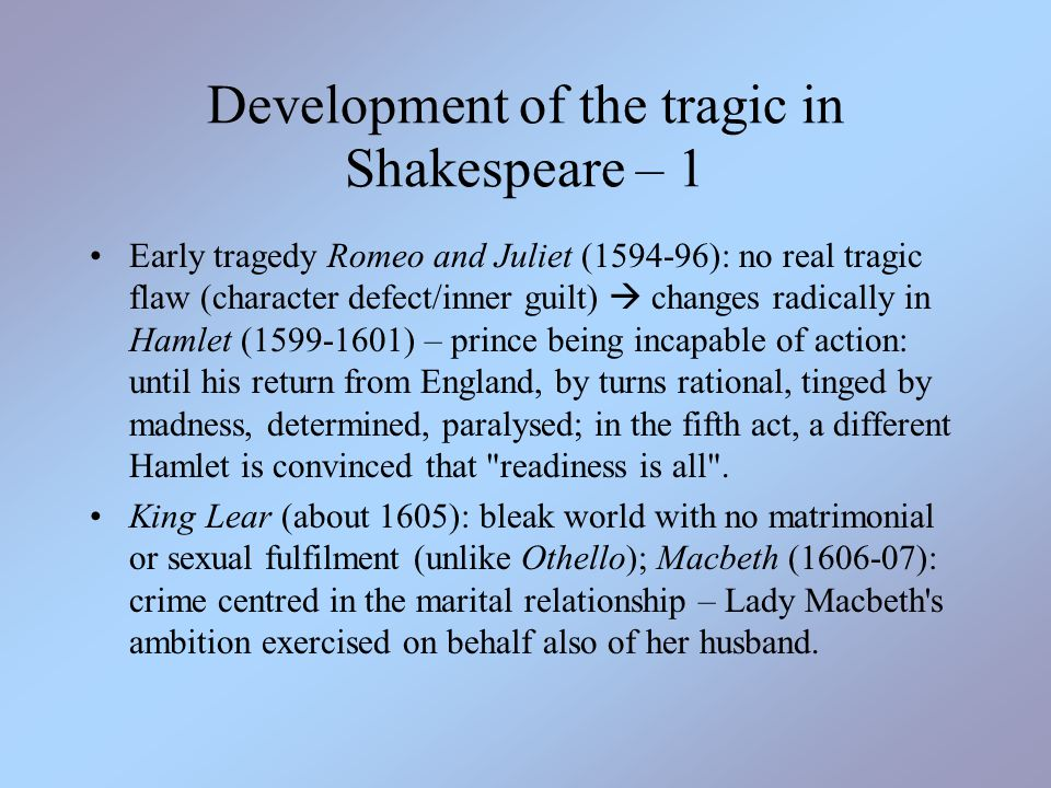 Development of the tragic in Shakespeare – 1