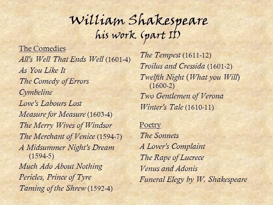 William Shakespeare his work (part II)