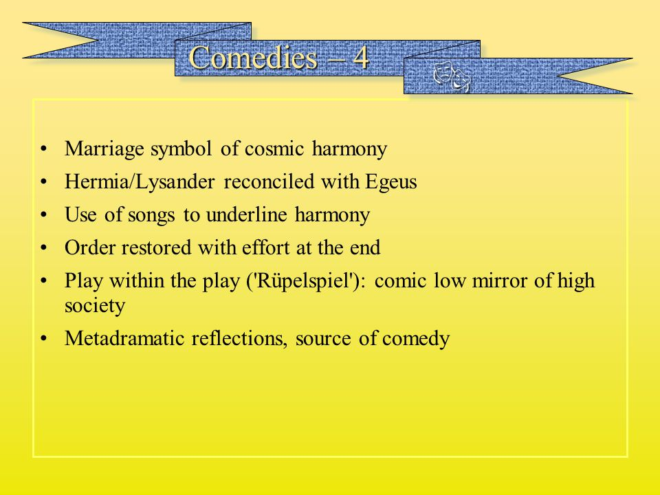  Comedies – 4 Marriage symbol of cosmic harmony