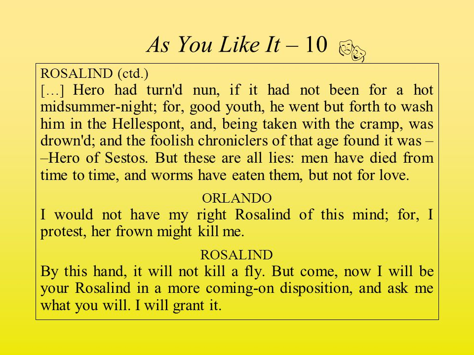  As You Like It – 10 ROSALIND (ctd.)