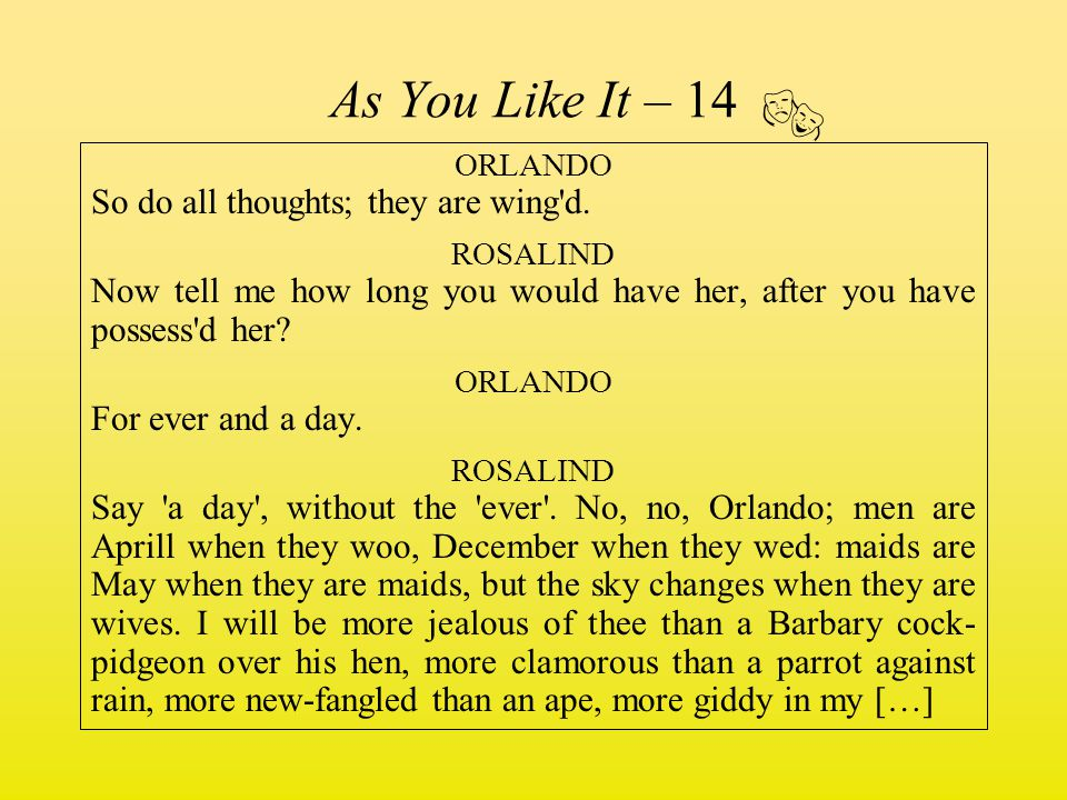  As You Like It – 14 ORLANDO So do all thoughts; they are wing d.