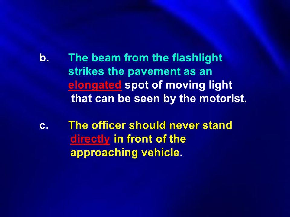 b. The beam from the flashlight