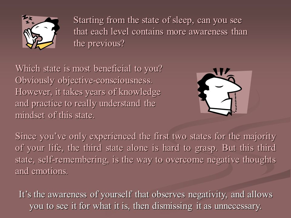 Starting from the state of sleep, can you see that each level contains more awareness than the previous