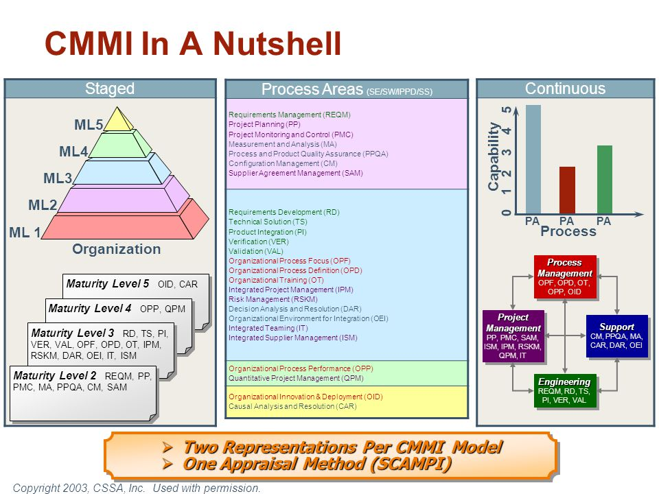 CMMI In A Nutshell Two Representations Per CMMI Model