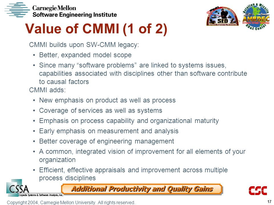 Value of CMMI (1 of 2) CMMI builds upon SW-CMM legacy: