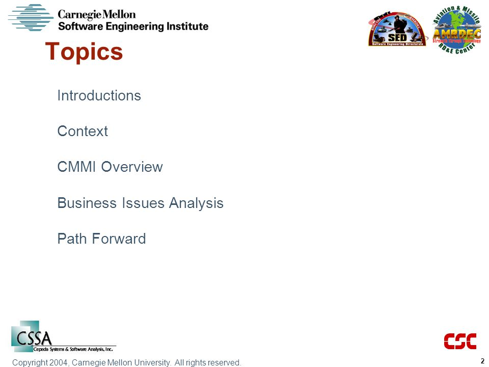 Topics Introductions Context CMMI Overview Business Issues Analysis