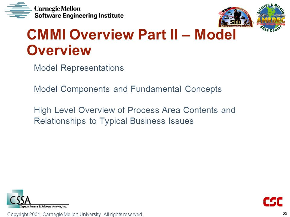 CMMI Overview Part II – Model Overview