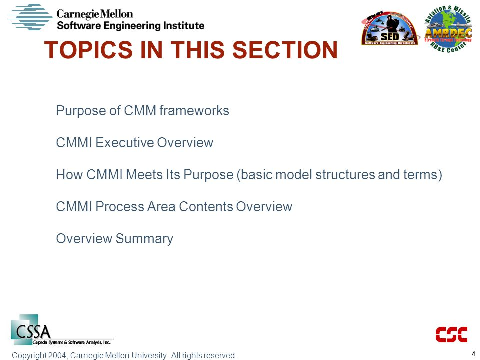TOPICS IN THIS SECTION Purpose of CMM frameworks