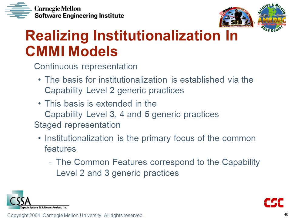 Realizing Institutionalization In CMMI Models