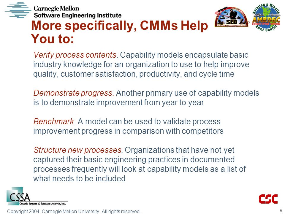 More specifically, CMMs Help You to: