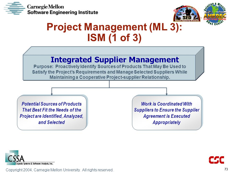 Project Management (ML 3): ISM (1 of 3) Integrated Supplier Management