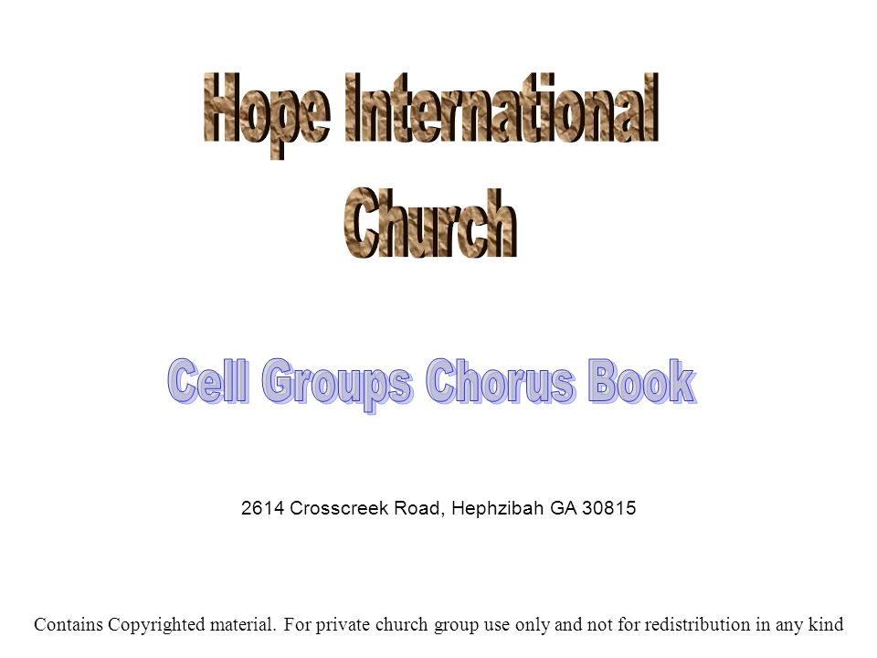 Cell Groups Chorus Book