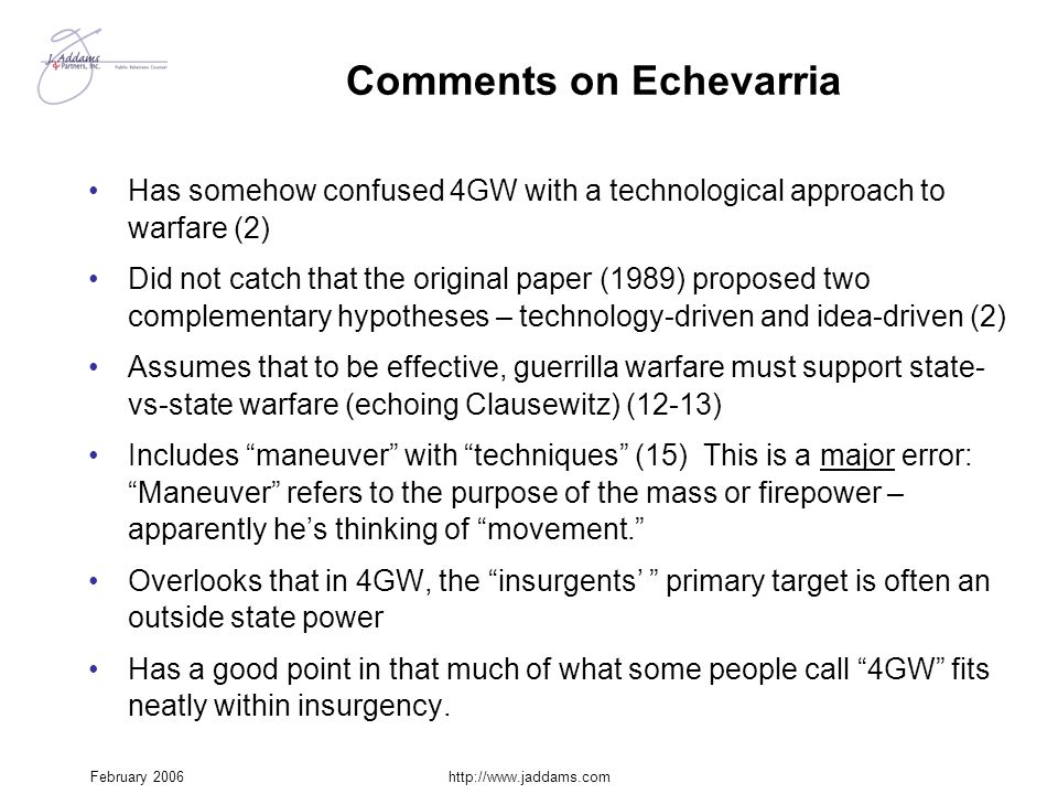 Comments on Echevarria